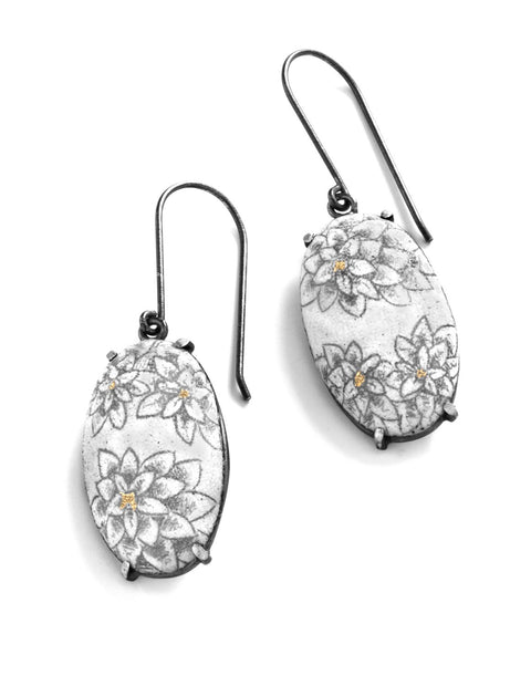White chrysanthemum oval dangle earrings with 24k gold accents handmade by Nicolette Absil