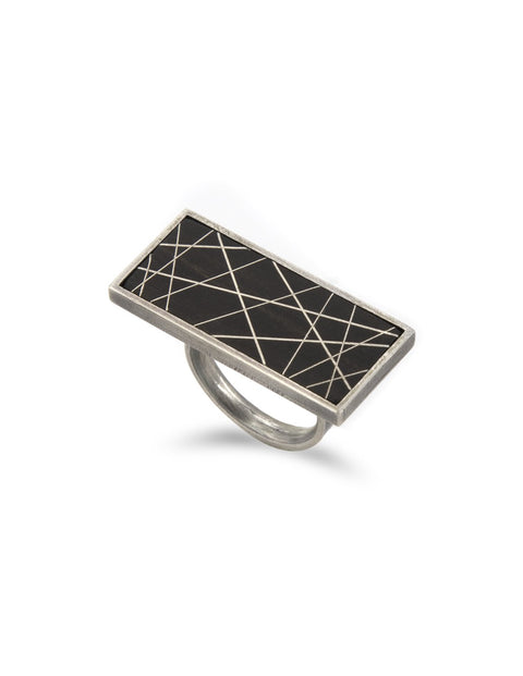 Square sterling silver ring with black and white geometric lines handmade by 2017 Lillstreet Art Center resident artist Peter Antor.