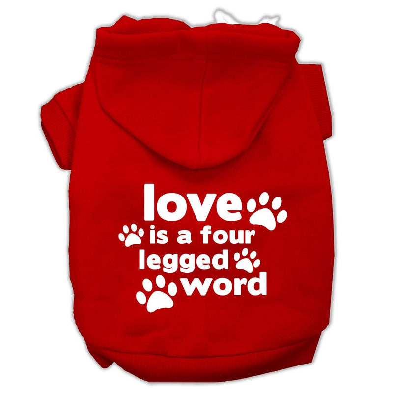 Love is a Four Leg Word Screen Print Pet Hoodies