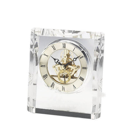 Personalized Free Engraving Crystal Desk Clock Wedding Housewarming Corporate Executive Office Retirement Anniversary Graduation Christmas