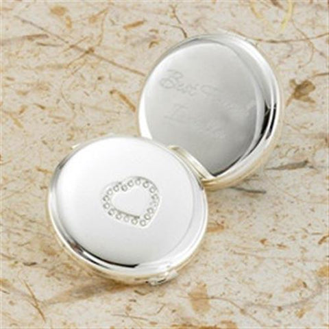 Silver Plated Sweetheart Compact Free Personalization - GiftsEngraved