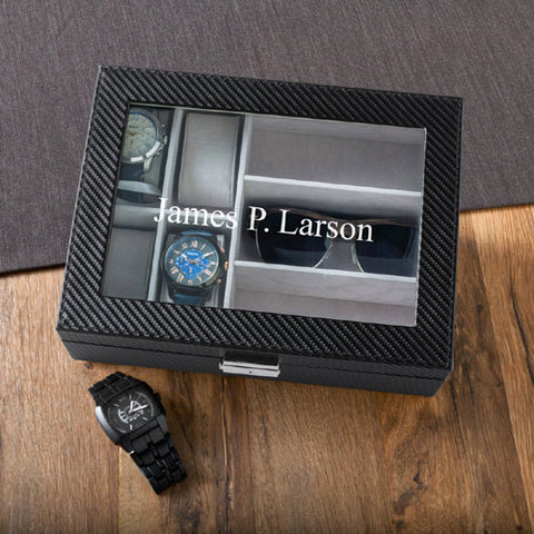 Personalized Men's Watch and Sunglasses Box Free Engraving - GiftsEngraved