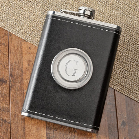 Personalized 8oz Leather Flask with Folding Shot Glass Free Engraving - GiftsEngraved