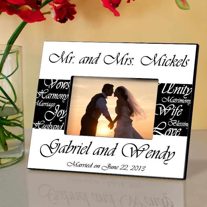 Personalized Frame - Mr. and Mrs. Wedding Picture Engraved Free - GiftsEngraved