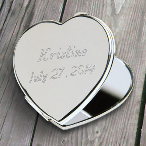 Personalized Heart Compact Mirror Free Engraving - GiftsEngraved