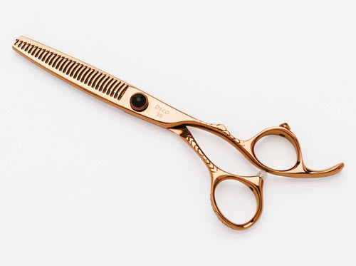 Dynasty Deco Thinner. This hairstylist thinner is handmade in China using Japanese 440A stainless steel. The thinner consists of 30 teeth.