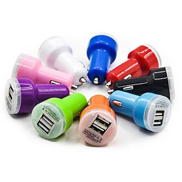 USB Car Chargers Dual Port 20ct. Assorted Colors