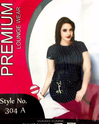 Premium Pyjama Set Black & Maroon - 304-A - Ladies Pyjama Sets - diKHAWA Online Shopping in Pakistan