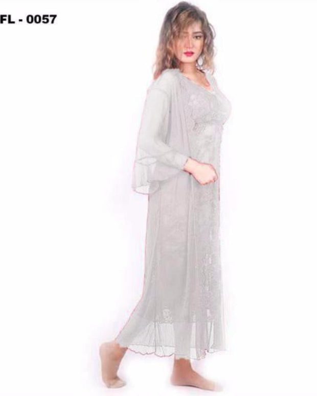 White 2Pc Net Nighty Flourish  - FL-0057 - Nighty - diKHAWA Online Shopping in Pakistan