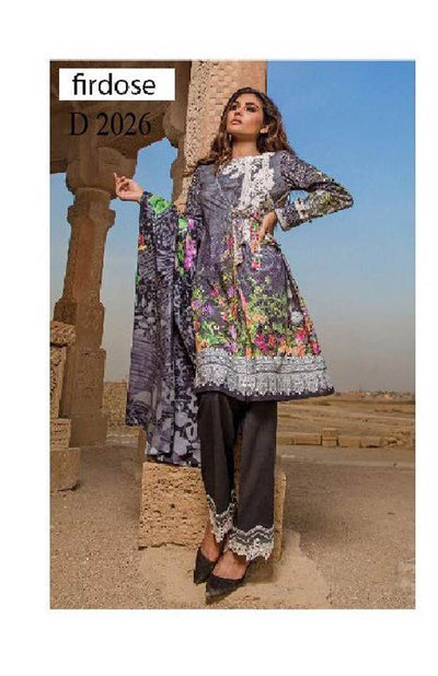 Firdouse Lawn With Chiffon Dupatta - Replica - Ustitched