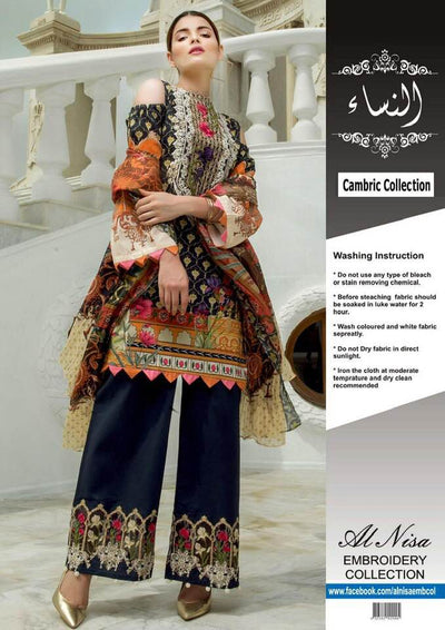 Firdous Cambric & Cotton Dresses - Embroidered Lawn Dupatta - Replica - Unstitched