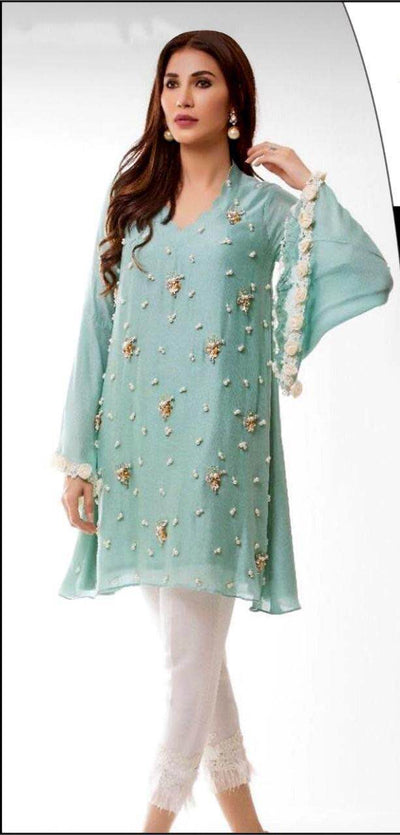 Rozina Munib Chiffon Dresses - Embroidered Chiffon Dupatta - Replica - Unstitched