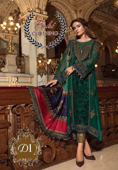 Maria B Velvet Dresses - Pure Digital Silk Dupatta  - Replica - Unstitched