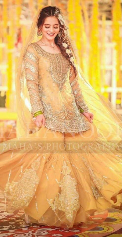 Aiman Khan Net Dresses - Embroidered Net Dupatta  - Replica - Unstitched
