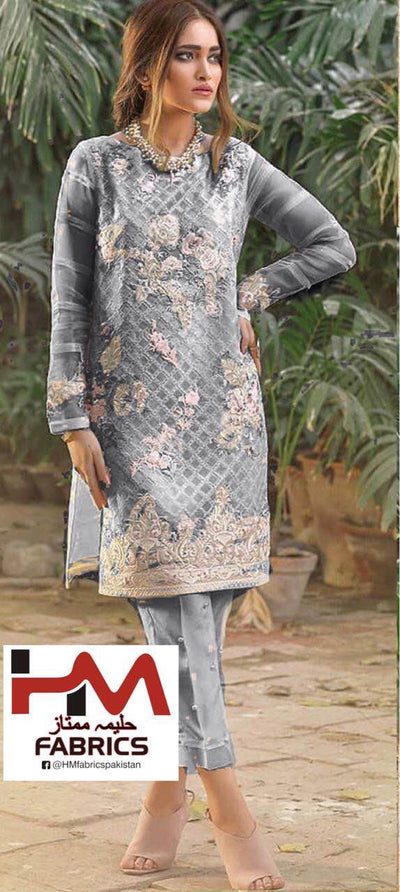 Agha Noor Organza Dresses - Embroidered Chiffon Dupatta - Replica - Unstitched