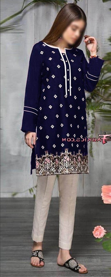 Mausummery Lawn Heavy Embroidered Front & Handwork With attach Border Embroidery With Neck Lace & Fancy Buttons - Replica - Unstitched