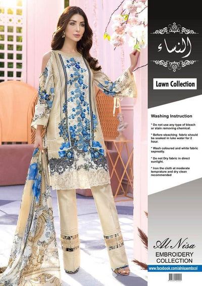 Firdous Lawn With Lawn Dupatta Printed Lawn Front Back & Sleeves Embroidered Front Dyed Trouser - Replica - Unstitched