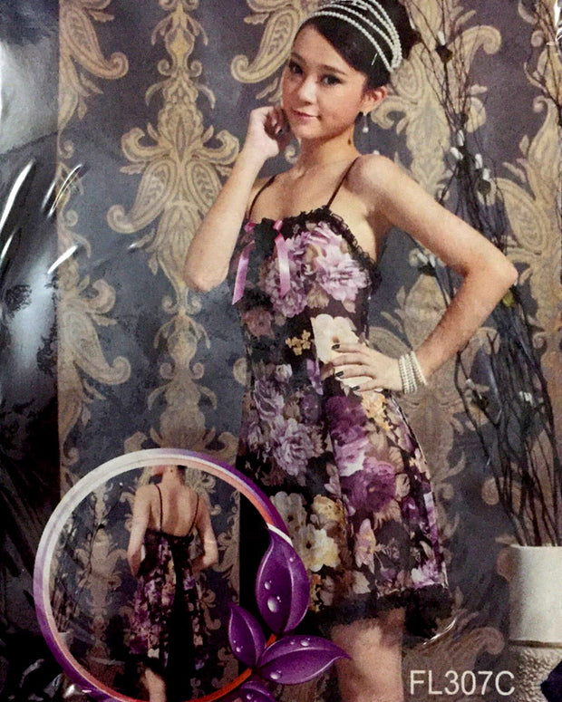 Romantic Floral Print Short Nighty For Women - FL307C