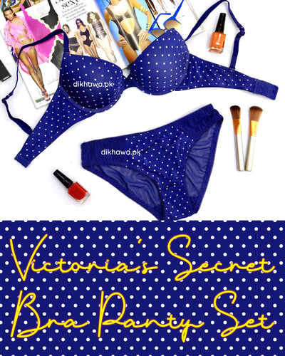 Victoria's Secret - Pushup Bra Panty Set - Polka Dotted Seamless Bra