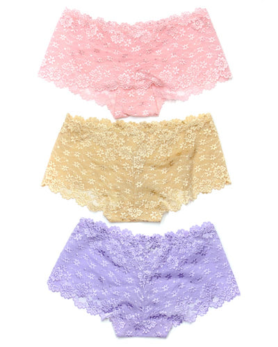 Pack of 3 Sexy Net Panty - FP-627- Peach Skin Purple