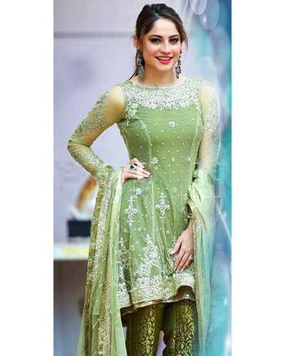 Presenting Neelam Muneer's Mehndi Collection With Net Heavy Embroidered Dupatta (Replica)(Unstitched)