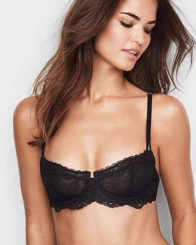 Victoria Secrets Black Net Bra - Transparent See Through Underwired Bra