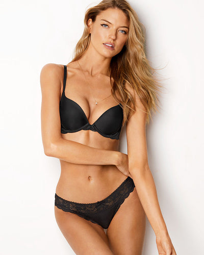 Victoria's Secret - Black Single Padded Bra And Panty Set