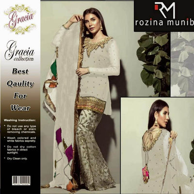 Rozina Muneeb Fabric Chiffon Dupatta Chiffon Trouser Satin Silk Zari Sequence Handwork - Replica - Unstitched