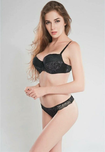 Sexy Magic 1603 Pushup Bra Panty Set Black- Double Padded Underwired Bra Panty Set
