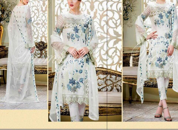 Ramsha Collection Fabric Chiffon Heavy Embroidered Front With Embroidered Daman And Hanging Tasels - Replica - Unstitched