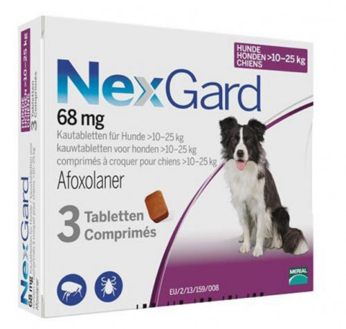 Nexgard Purple for medium dogs 24-60lbs (10-25kg) 3 chewable tablets