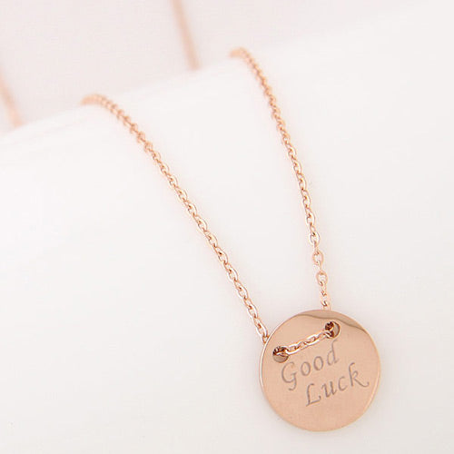 Rose Gold Good Luck Necklace - Crateen
