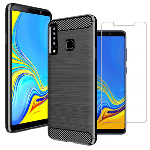 Samsung Galaxy A9 (2018) Case Carbon Fibre Black & Glass Screen Protector