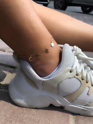 Moon phase Gold Anklet
