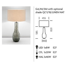 Veneto Glass Lamp With Black Bronze and Linen Shade - measurements