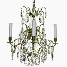 Baroque Chandelier - Polished Brass 5 Arm Baroque Style Chandelier With Clear Almond Crystals