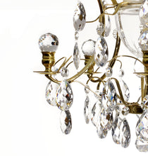 Bathroom Chandeliers - Polished Brass Bathroom Chandelier With Crystal Balls And Crystal Almonds