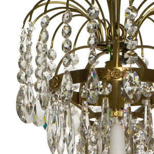 Swedish Chandelier - Light Brass 5 Arm Chandelier With Full Cut Drop Crystals And Octagons