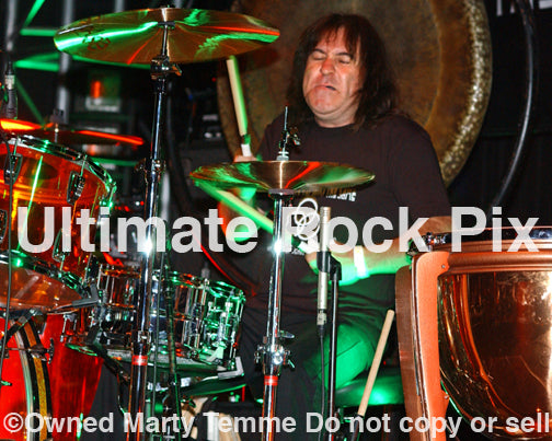 Photo of drummer Simon Wright of AC/DC in concert by Marty Temme