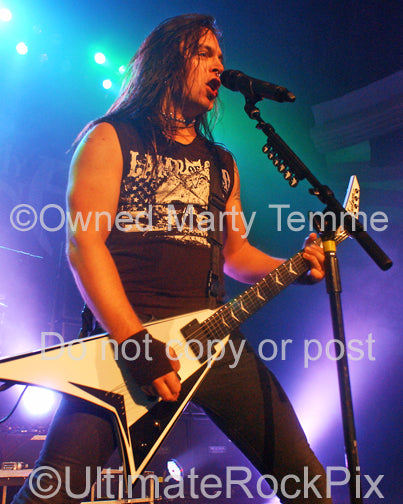Photo of Matt Tuck of Bullet for My Valentine in concert in 2010 by Marty Temme