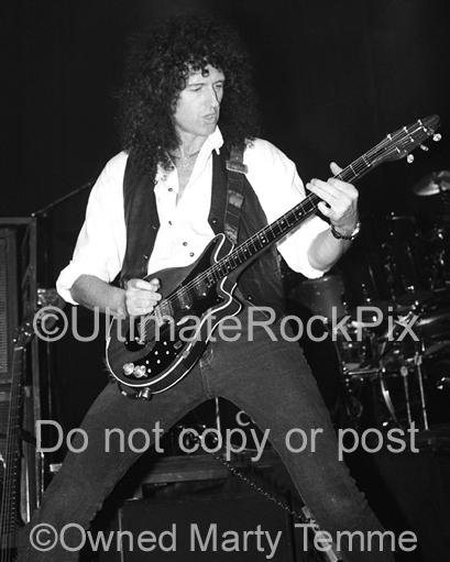 Black and White Photos of Guitarist Brian May of Queen in Concert in 1993 by Marty Temme