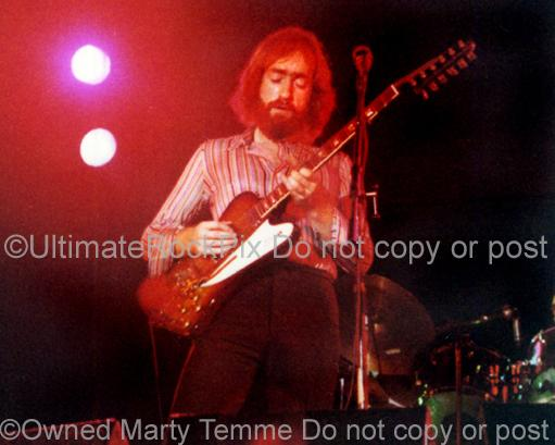 Photos of Guitar Player Dave Mason Playing a Gibson Firebird in 1974 by Marty Temme