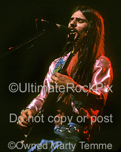 Photo of guitarist Frank Marino in concert in 1973 by Marty Temme