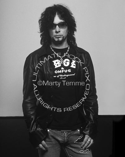 Black and white photo of John Corabi of Motley Crue and The Dead Daisies during a photo shoot by Marty Temme