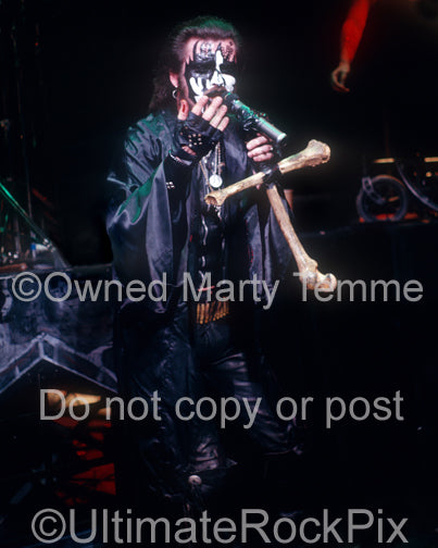 Photo of King Diamond in concert in 1988 by Marty Temme