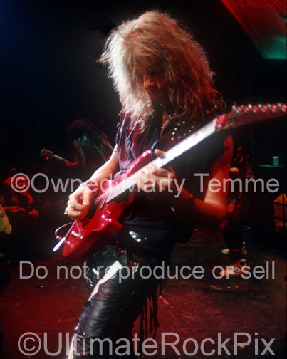 Photo of guitar player Andy LaRocque of King Diamond in concert in 1988 by Marty Temme