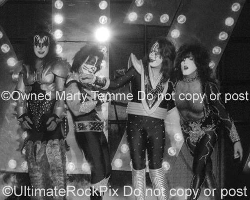 Black and White Photos of Gene Simmons, Peter Criss, Ace Frehley and Paul Stanley of Kiss by Marty Temme