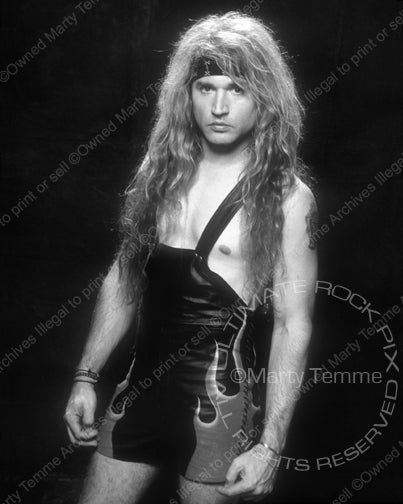 Black and white photo of drummer Eric Singer of Kiss during a photo shoot by Marty Temme