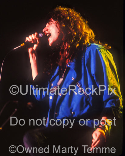 Photo of vocalist Eric Martin of Mr. Big in concert in 1991 by Marty Temme