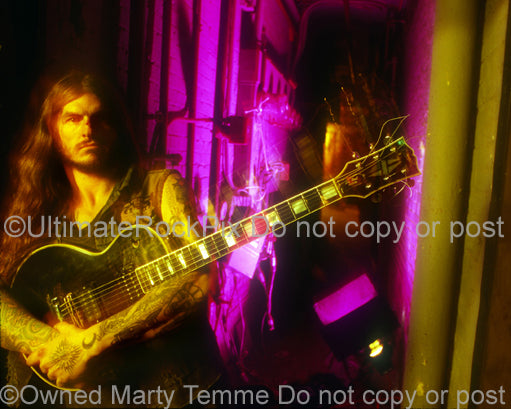 Photo of Scott Weinrich of The Obsessed with his Les Paul Custom in 1994 by Marty Temme